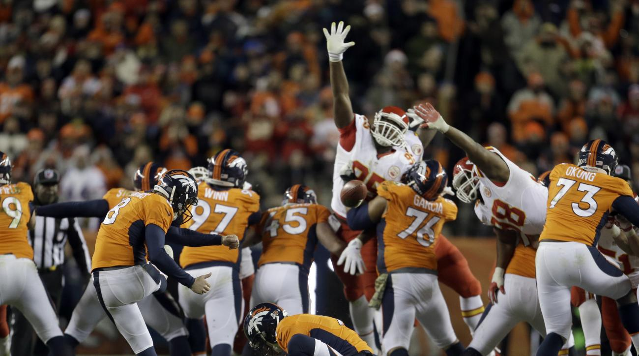 FILE -  In this Sunday, Nov. 27, 2016 file photo, Denver Broncos kicker Brandon McManus (8) misses a 62-yard field goal attempt as Riley Dixon (9) holds during overtime of an NFL football game against the Kansas City Chiefs in Denver. The Denver Broncos h