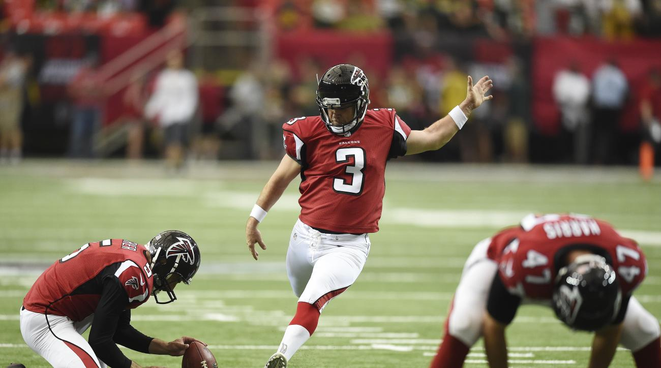 FILE - In this Oct. 30, 2016 file photo, Atlanta Falcons kicker Matt Bryant warms up before the first of an NFL football game between the Atlanta Falcons and the Green Bay Packers, in Atlanta. Bryant, in his 16th NFL season, is relishing his long-awaited