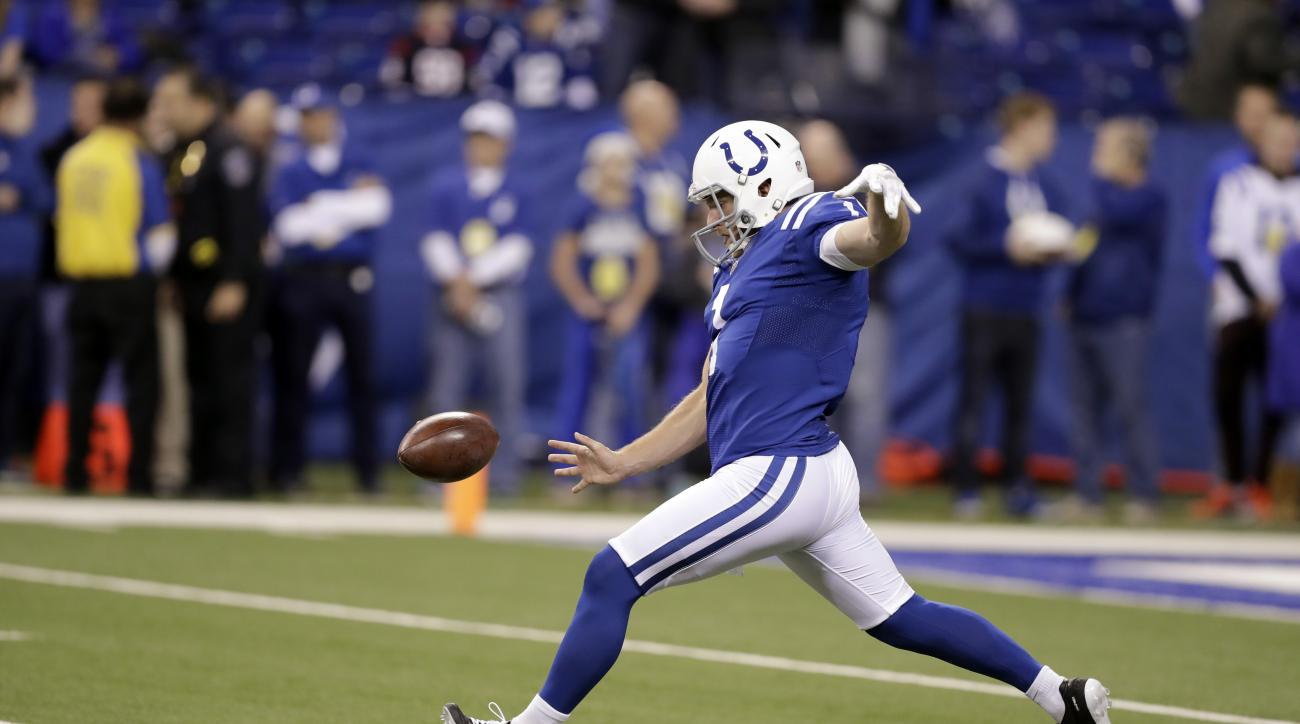 FILE - In this Dec. 11, 2016 file photo, Indianapolis Colts punter Pat McAfee warms up before the start of an NFL football game between the Indianapolis Colts and the Houston Texans in Indianapolis. The Colts will play the Oakland Raiders on Saturday, Dec