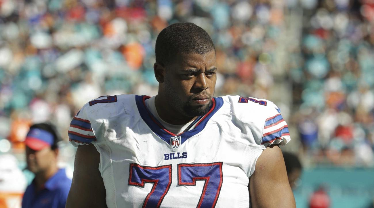 Buffalo Bills tackle Cordy Glenn (77) walks off the field, during the second half of an NFL football game against the Miami Dolphins, Sunday, Oct. 23, 2016, in Miami Gardens, Fla. (AP Photo/Lynne Sladky)
