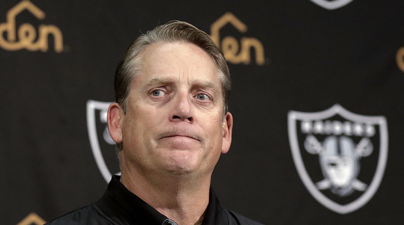 Oakland Raiders coach Jack Del Rio speaks during a news conference after the NFL football game between the Raiders and the Indianapolis Colts in Oakland, Calif., Saturday, Dec. 24, 2016. The Raiders won 33-25. (AP Photo/Marcio Jose Sanchez)