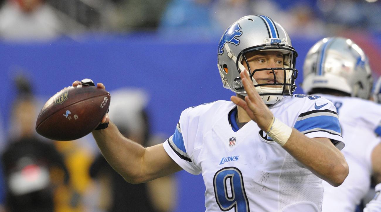 FILE - In this Sunday, Dec. 18, 2016, filephoto, Detroit Lions quarterback Matthew Stafford (9) throws a pass during the second half of an NFL football game against the New York Giants in East Rutherford, N.J. The Lions play the Dallas Cowboys on Monday,