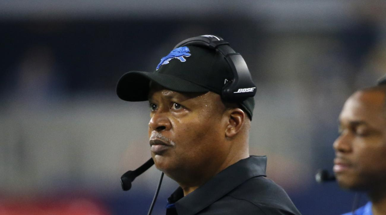 Detroit Lions head coach Jim Caldwell watches play against the Dallas Cowboys in the second half of an NFL football game, Monday, Dec. 26, 2016, in Arlington, Texas. (AP Photo/Michael Ainsworth)