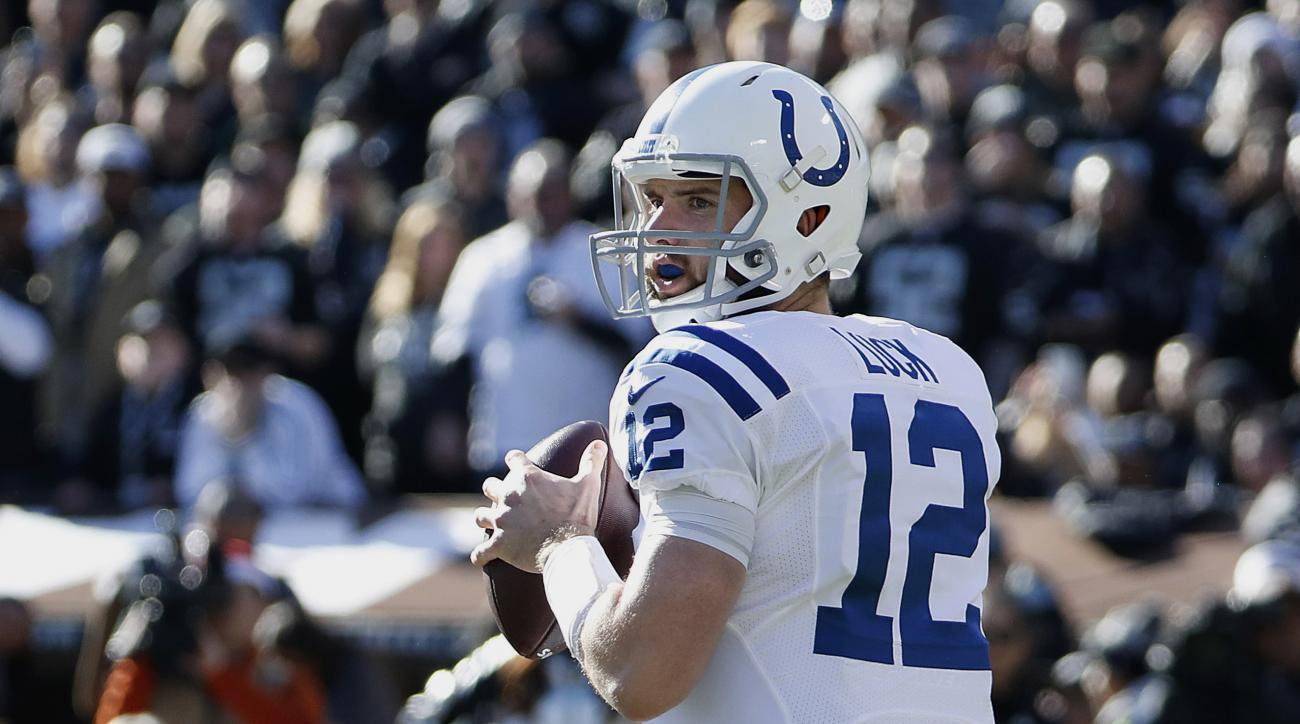 In this Saturday, Dec. 24, 2016, photo, Indianapolis Colts quarterback Andrew Luck (12) against the Oakland Raiders during the first half of an NFL football game in Oakland, Calif. A healthy Andrew Luck was supposed to lead the Indianapolis Colts back to