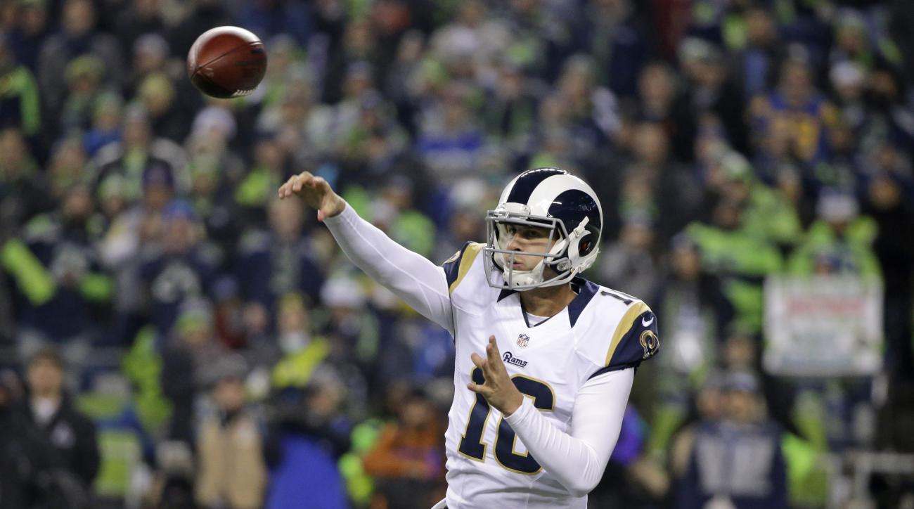 FILE - In a Thursday, Dec. 15, 2016 file photo, Los Angeles Rams quarterback Jared Goff passes against the Seattle Seahawks in the first half of an NFL football game, in Seattle. Goff has one last chance to avoid a winless rookie season as a starter again