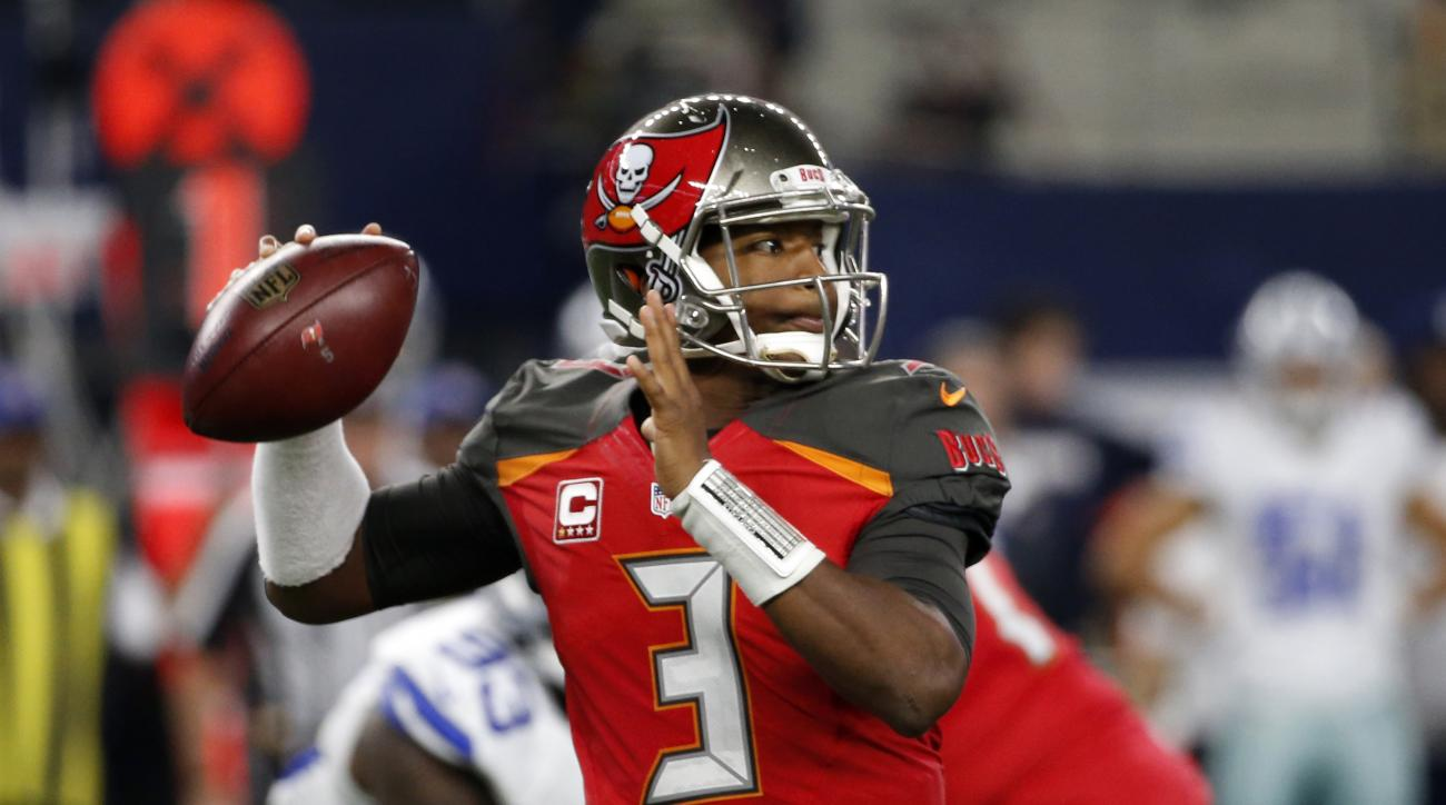 FILE - In a Sunday, Dec. 18, 2016 file photo, Tampa Bay Buccaneers quarterback Jameis Winston (3) throws a pass in the first half of an NFL football game against the Dallas Cowboys, in Arlington, Texas. A win on Jan. 1 gives the Bucs (8-7) their first win