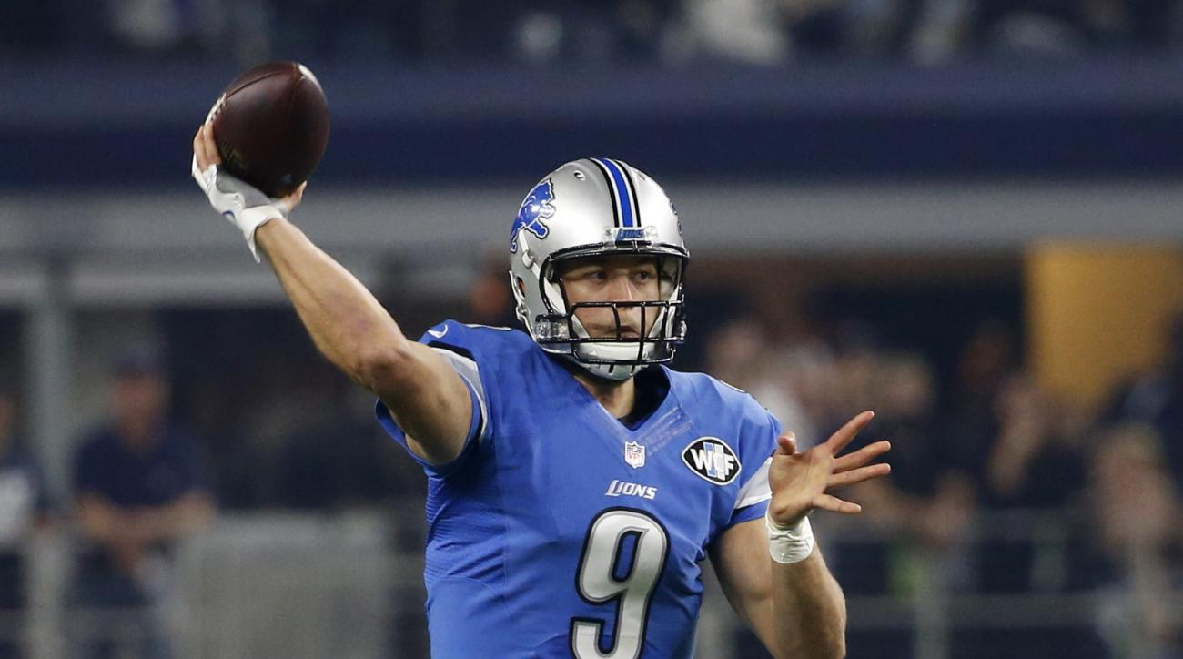 FILE - Monday, Dec. 26, 2016 file photo, Detroit Lions' Matthew Stafford (9) throws a pass in the first half of an NFL football game against the Dallas Cowboys in Arlington, Texas. Ford Field opened in 2002, and since then it has hosted a Super Bowl and a