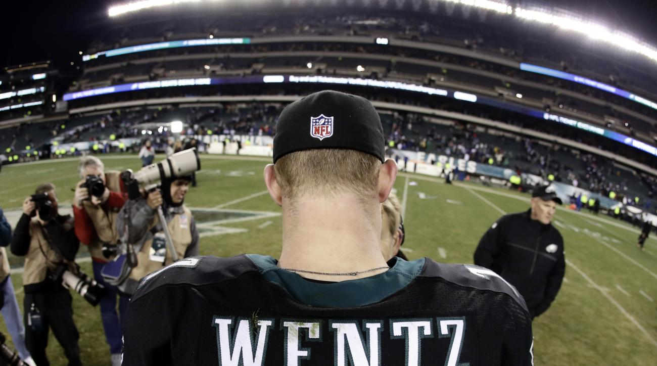 In this Dec. 22, 2016, file photo, taken with a fisheye lens, Philadelphia Eagles' Carson Wentz walks the field after an NFL football game against the New York Giants in Philadelphia. The most recent NFL jersey sales report overall top 10, going back to t