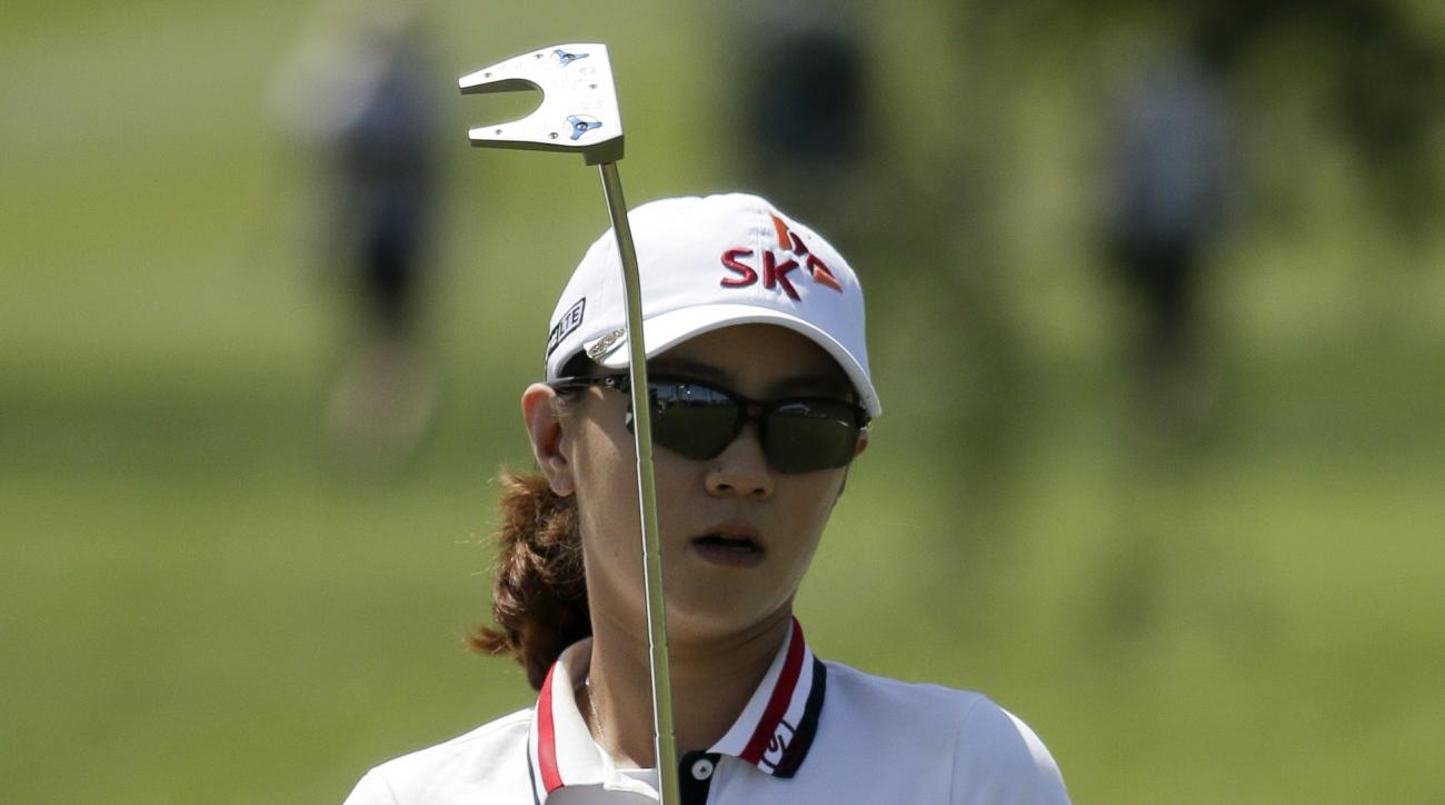 Na Yeon Choi, of South Korea, reacts to her putt on the ninth hole during the first round of the LPGA Tour ANA Inspiration golf tournament at Mission Hills Country Club on Thursday, April 2, 2015 in Rancho Mirage, Calif. (AP Photo/Chris Carlson)