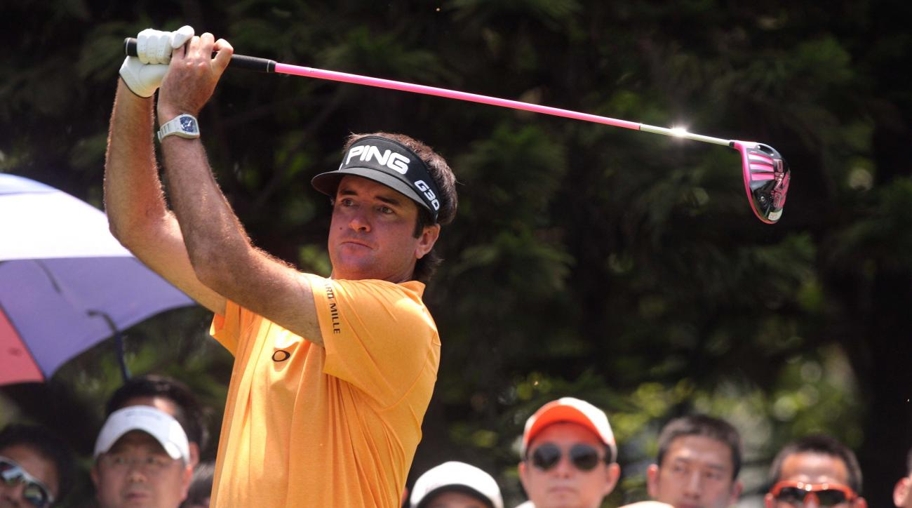 Bubba Watson competes during the first round of the Shenzhen International golf tournament at Genzon Golf Club in Shenzhen in southern China's Guangdong Province, Thursday, April 16, 2015. (Chinatopix Via AP) CHINA OUT