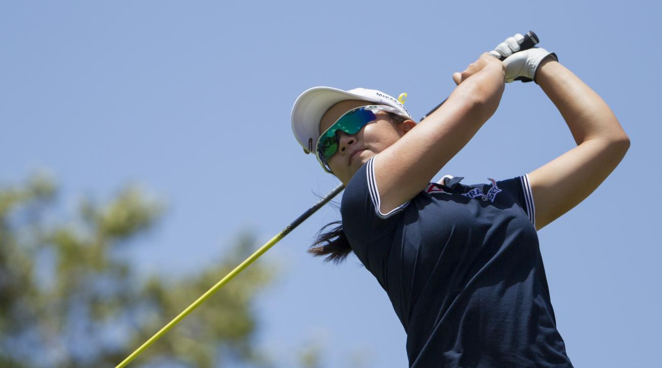 Sei Young Kim of South Korea watches her drive off the second tee in the final round of the LPGA Lotte Championship golf tournament at Ko Olina Golf Club, Saturday, April 18, 2015, in Kapolei, Hawaii. (AP Photo/Eugene Tanner)