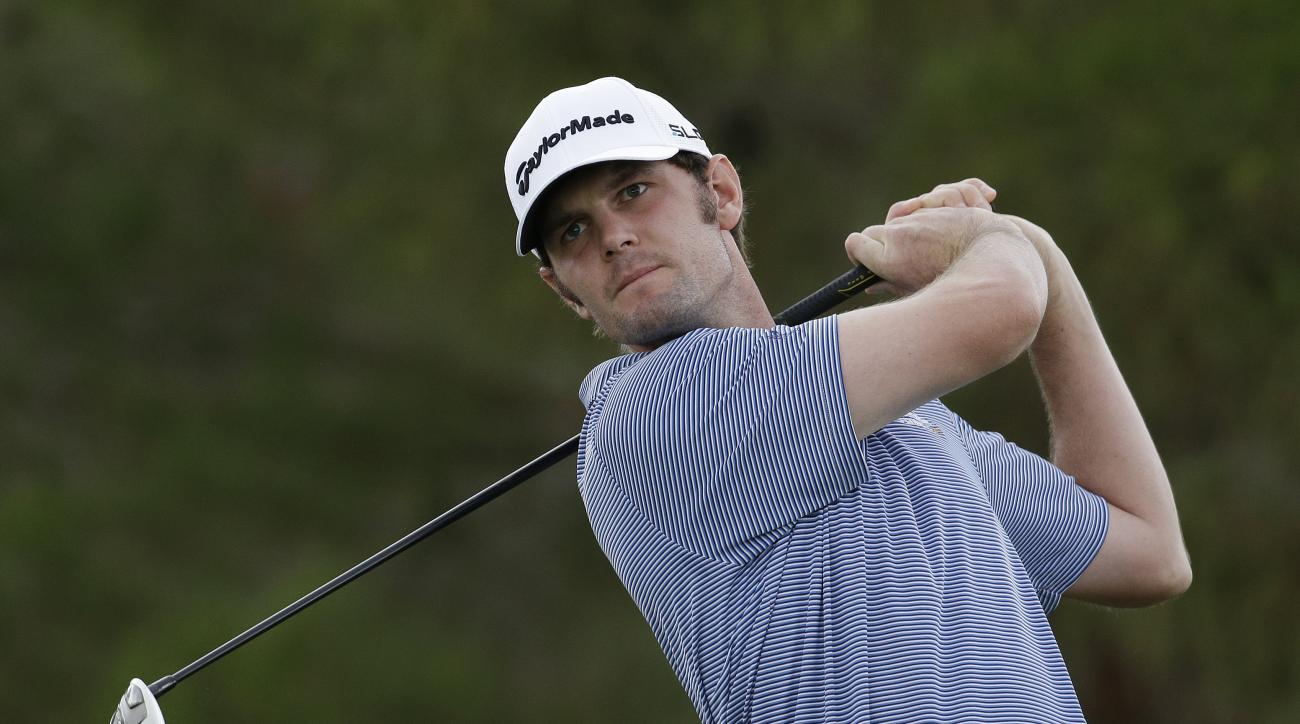 Wes Roach drives off the first tee during the third round of the Shriners Hospitals for Children Open golf tournament Saturday, Oct. 18, 2014, in Las Vegas. (AP Photo/John Locher)