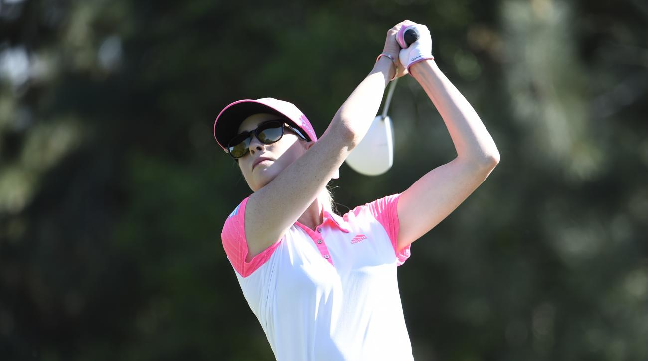 Paula Creamer hits her tee shot on the 12th hole during the final round of the LPGA Kia Classic golf tournament Sunday, March 29, 2015 in Carlsbad, Calif.  (AP Photo/Denis Poroy)