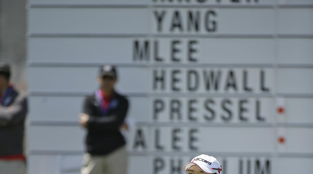 Ha Na Jang of South Korea reacts after missing a birdie putt on the 18th green of the Lake Merced Golf Club during the first round of the Swinging Skirts LPGA Classic golf tournament Thursday, April 23, 2015, in Daly City, Calif. (AP Photo/Eric Risberg)