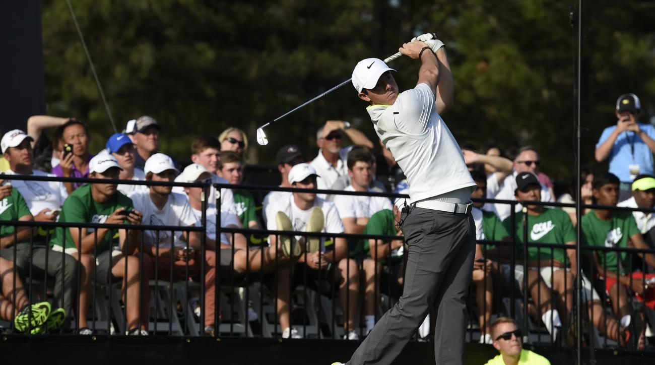 Rory McIlroy hits the ball at the Junior Invitational golf tournament in Graniteville, S.C., on Friday, April 24, 2015. (Jon-Michael Sullivan/The Augusta Chronicle via AP)