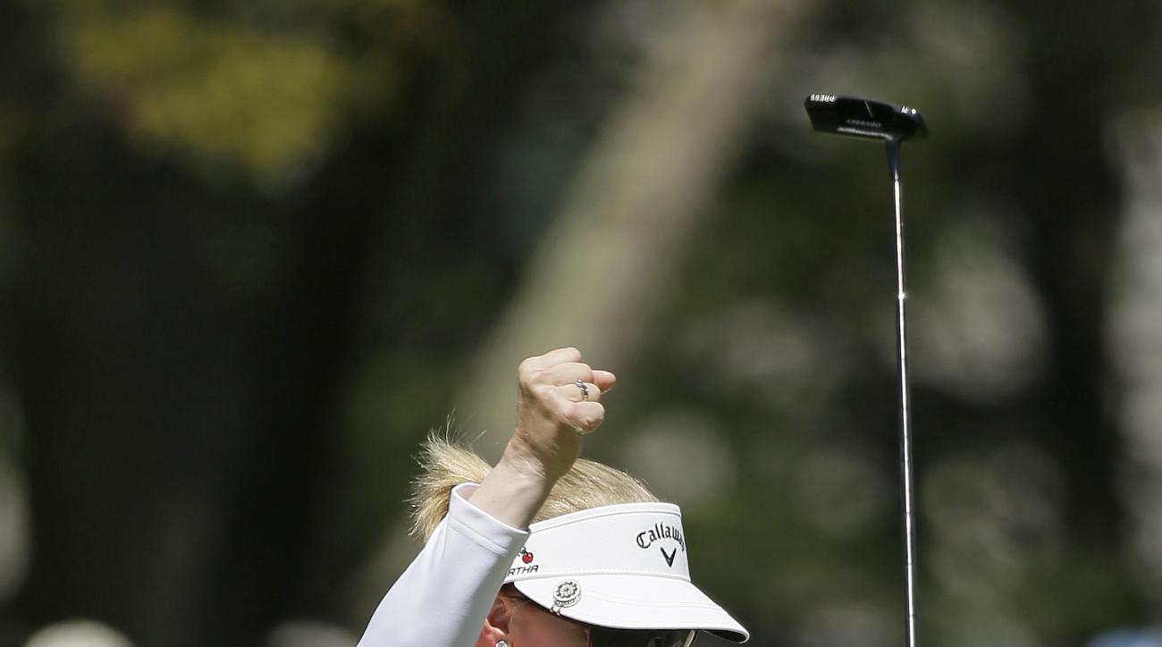Morgan Pressel reacts after making an eagle putt on the sixth green of the Lake Merced Golf Club during the final round of the Swinging Skirts LPGA Classic golf tournament Sunday, April 26, 2015, in Daly City, Calif. (AP Photo/Eric Risberg)