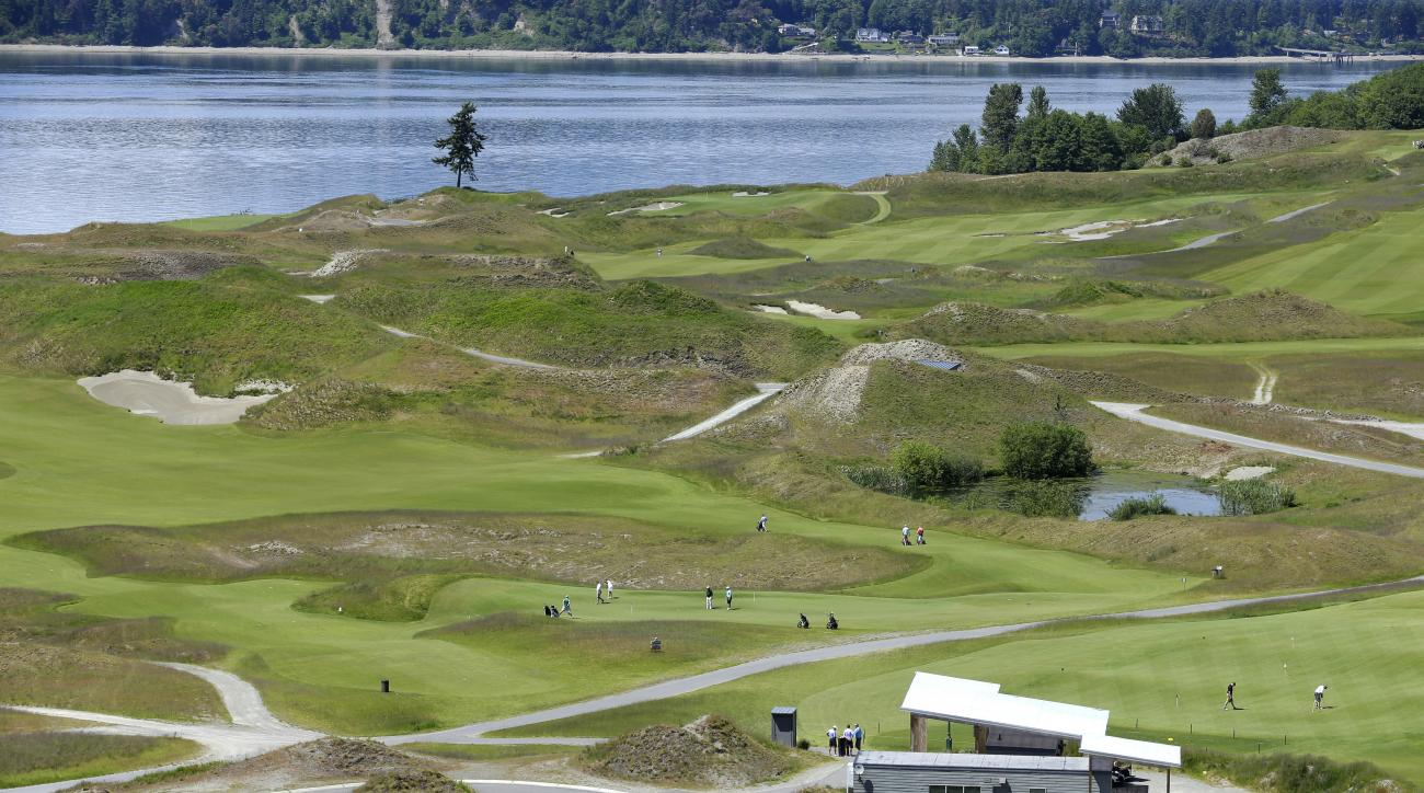 FILE - In this May 20, 2014, file photo, the Chambers Bay Golf Course, including the signature lone tree, is seen from the clubhouse in University Place, Wash. The U.S. Open comes to Chambers Bay in seven weeks, the first time the major is played in the P