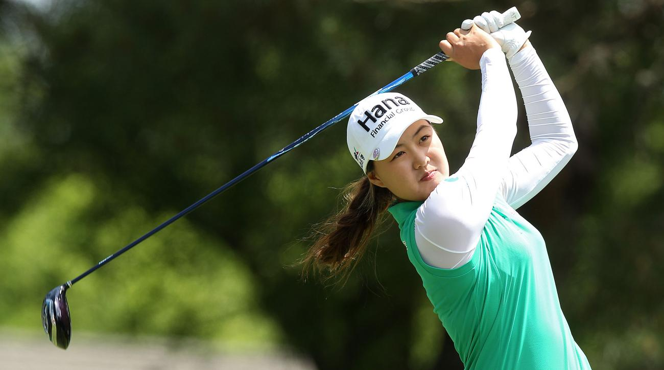 Minjee Lee, of Australia,  takes her tee shot from the ninth tee during the second round of the Kingsmill Championship LPGA golf tournament in Williamsburg, Va., Friday, May 15, 2015. (Rob Ostermaier/The Daily Press via AP)