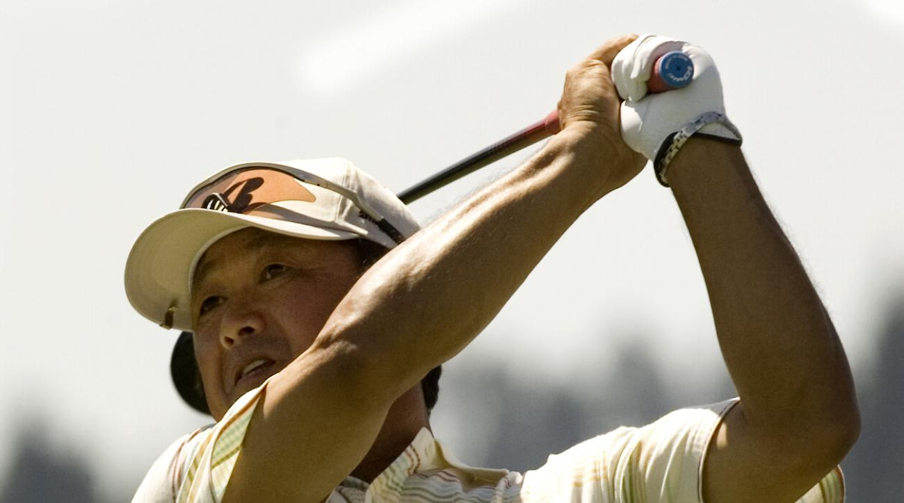 Massy Kuramoto, from Hiroshima, Japan, hits down the tenth fairway during the second round of the Champions Tour Jeld-Wen golf tournament in Sunriver, Ore., Friday, Aug. 15,  2008. (AP Photo/Don Ryan)