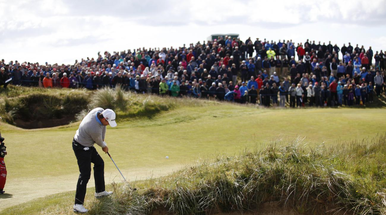 Ireland's Padraig Harrington from the edge of the bunker on hole 18 during round two of the Irish Open Golf Championship at Royal County Down, Newcastle, Northern Ireland, Friday, May 29, 2015.  (AP Photo/Peter Morrison)