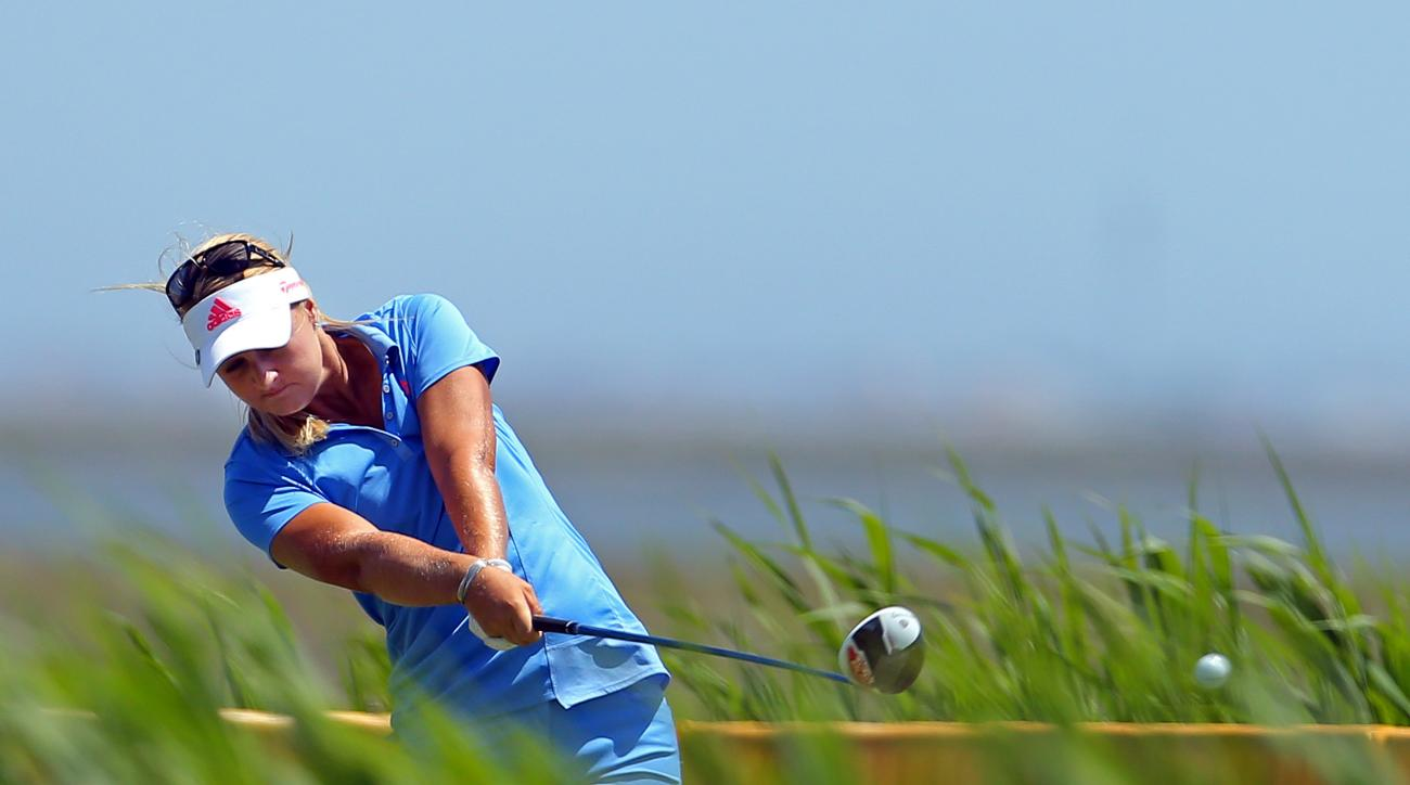 Anna Nordqvist, of Sweden, hits a tee shot on the 3rd hole during the final round of the ShopRite LPGA Classic golf tournament, Sunday, May 31, 2015, in Galloway Township, N.J. (AP Photo/Adam Hunger)