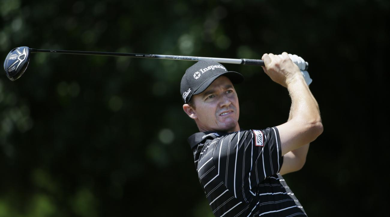 Jimmy Walker watches his tee shot on the first hole during the final round of the Byron Nelson golf tournament, Sunday, May 31, 2015, in Irving, Texas. (AP Photo/LM Otero)