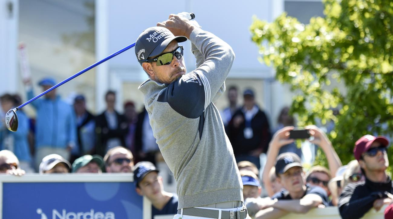 Sweden's Henrik Stenson on hole 10 during the Nordea Masters golf tournament at the PGA National golf course outside Malmo, Sweden, Friday, June 5, 2015. (Anders Wiklund / TT via AP)  SWEDEN OUT