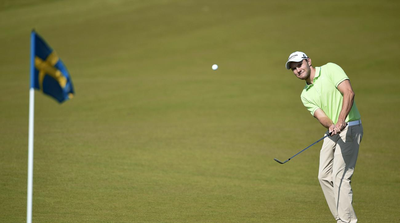 Germany's Maximilian Kieffer chips onto the 9th during the Nordea Masters golf tournament at the PGA National golf course outside Malmo, Sweden, Saturday June 6, 2015. (Anders Wiklund/TT via AP)   SWEDEN OUT