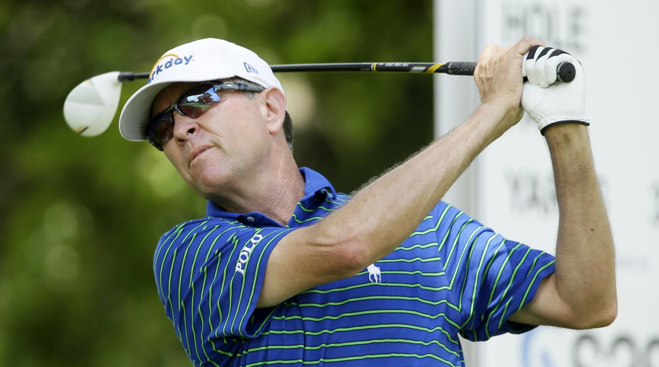 Davis Love III hits off the third tee during the final round of the Champions Tour's Principal Charity Classic golf tournament, Sunday, June 7, 2015, in Des Moines, Iowa. (AP Photo/Charlie Neibergall)
