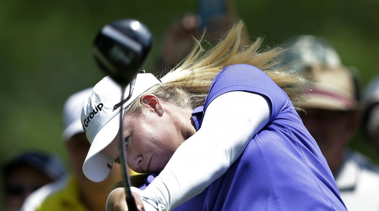 Brittany Lincicome hits her tee shot on the ninth hole of the first round of the ShopRite LPGA Classic golf tournament, Friday, May 29, 2015, in Galloway Township, N.J. (AP Photo/Mel Evans)