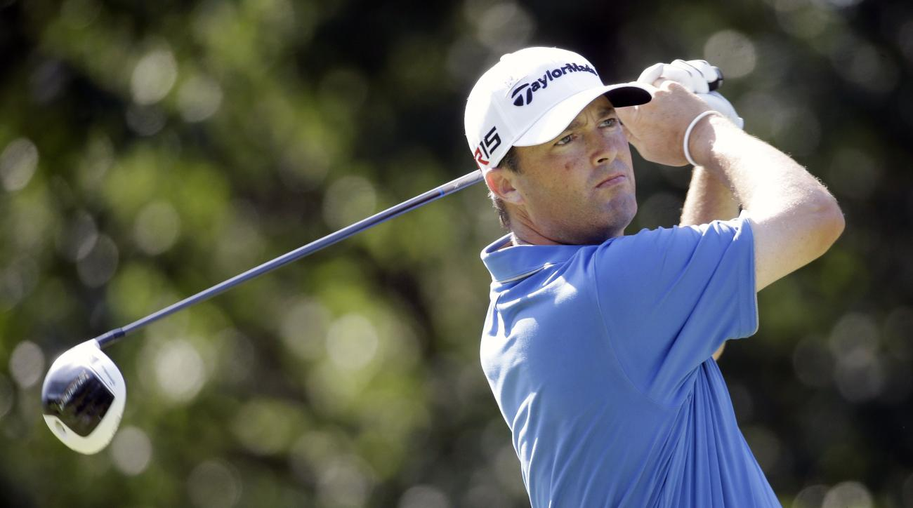 Ryan Palmer drives from the seventh tee during the first round of the St. Jude Classic golf tournament Thursday, June 11, 2015, in Memphis, Tenn. Palmer parred the hole and finished his round at 6-under-par 64. (AP Photo/Mark Humphrey)