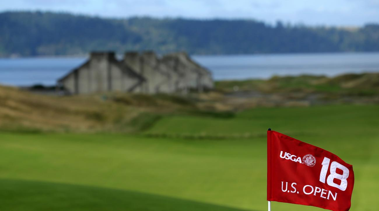 FILE - In this Sept. 30, 2014, file photo, the U.S. Open 18th hole flag is shown at Chambers Bay, the host course for the 2015 U.S. Open golf tournamen, in University Place, Wash. Chambers Bay will host the 115th U.S. Open golf tournament next week, but t