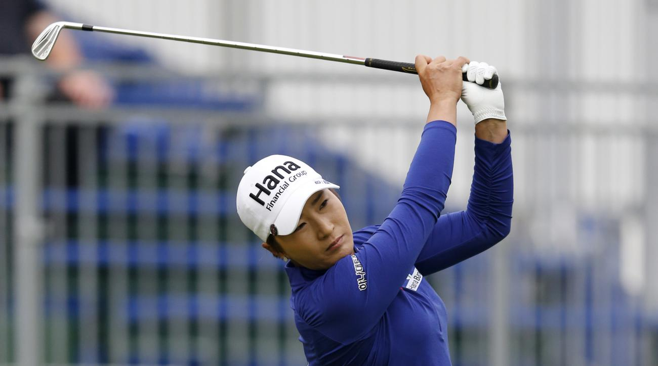 Se Ri Pak, of Korea, tees off on the first hole during the KPMG Women's PGA golf championship at Westchester Country Club, Thursday, June 11, 2015, in Harrison, N.Y. (AP Photo/Julio Cortez)