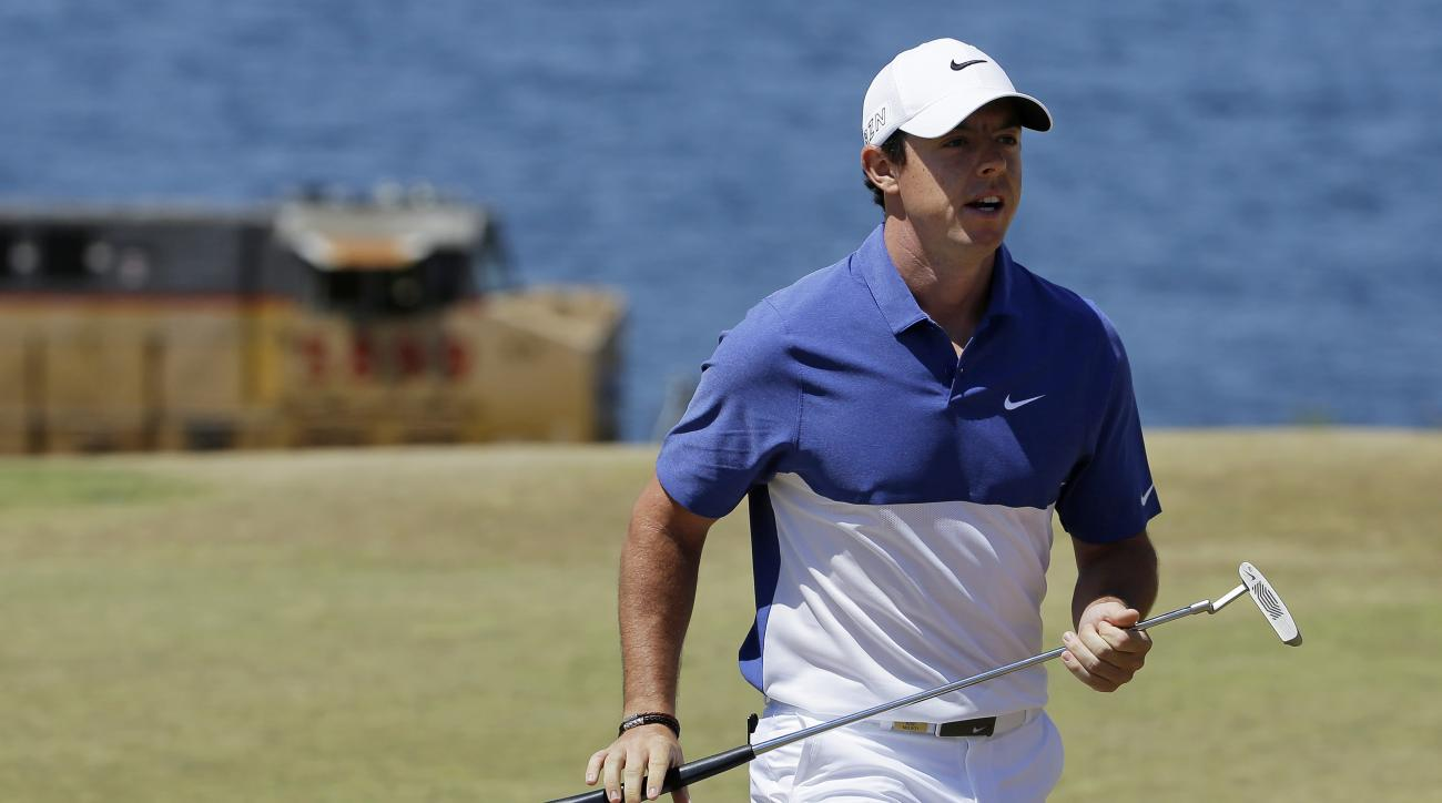 FILE - A Sunday, June 21, 2015 file photo showing Rory McIlroy, of Northern Ireland, walking off the second green during the final round of the U.S. Open golf tournament at Chambers Bay in University Place, Wash. World number one Rory McIlroy has ruptured