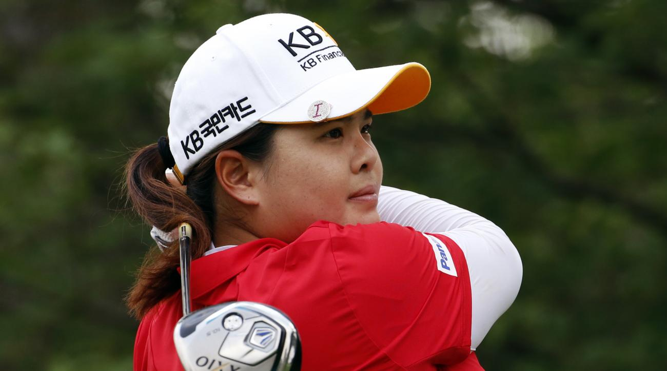 Inbee Park of South Korea hits her drive on the ninth tee during a practice round for the U.S. Women's Open golf tournament at Lancaster Country Club in Lancaster, Pa., Tuesday, July 7, 2015.(AP Photo/Gene J. Puskar)