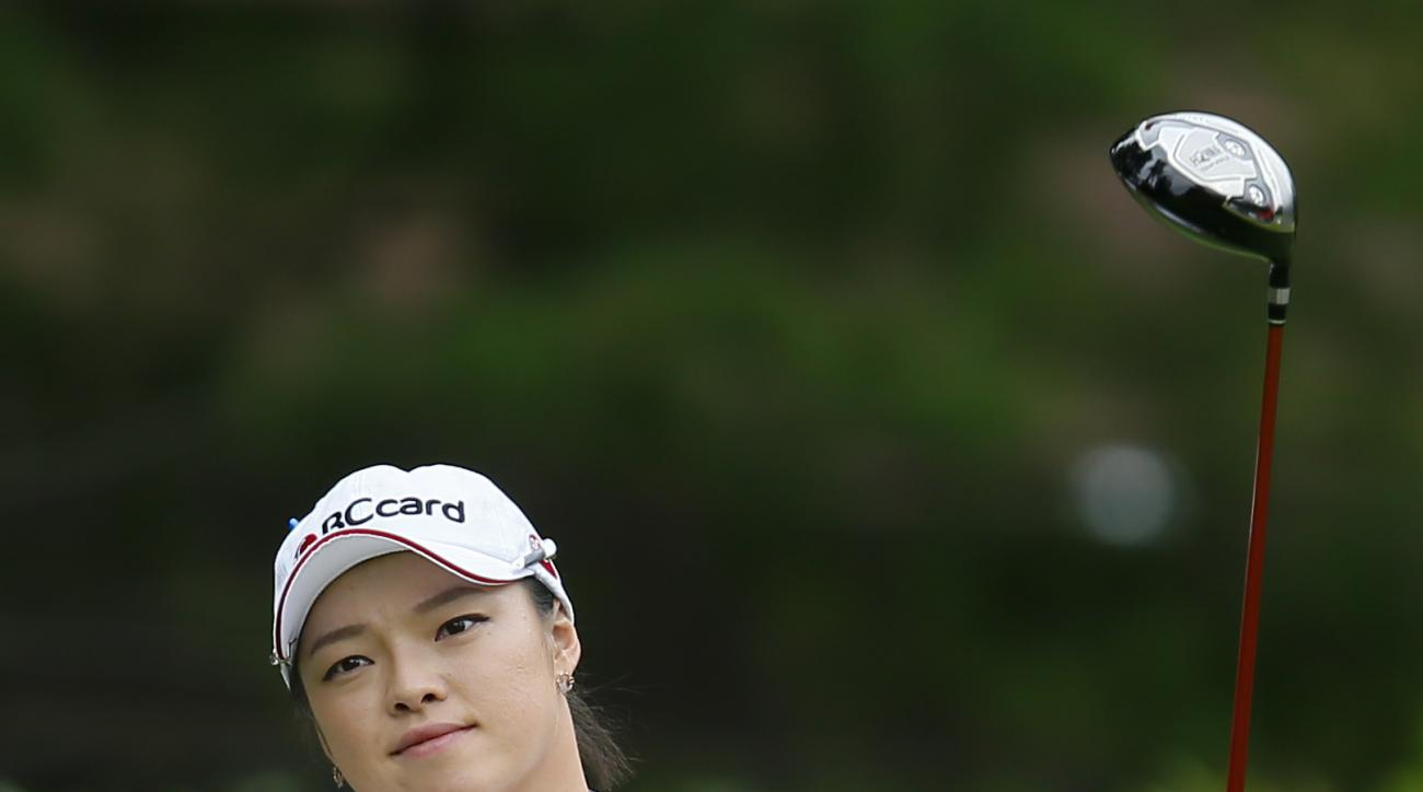 Ha Na Jang, of South Korea, tees off on the 16th hole during the first round of the Marathon Classic golf tournament at Highland Meadows Golf Club in Sylvania, Ohio, Thursday, July 16, 2015. (AP Photo/Rick Osentoski)