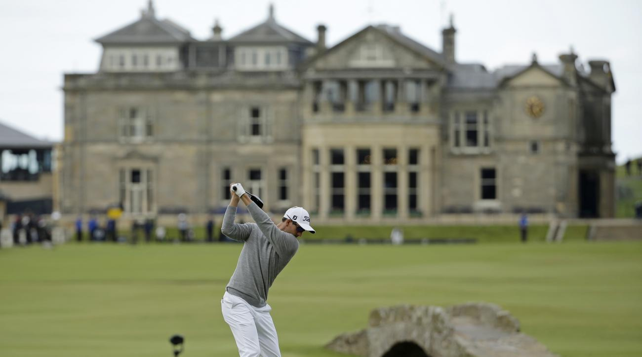 Australia's Adam Scott drives the ball from the 18th tee during the second round of the British Open Golf Championship at the Old Course, St. Andrews, Scotland, Friday, July 17, 2015. (AP Photo/David J. Phillip)