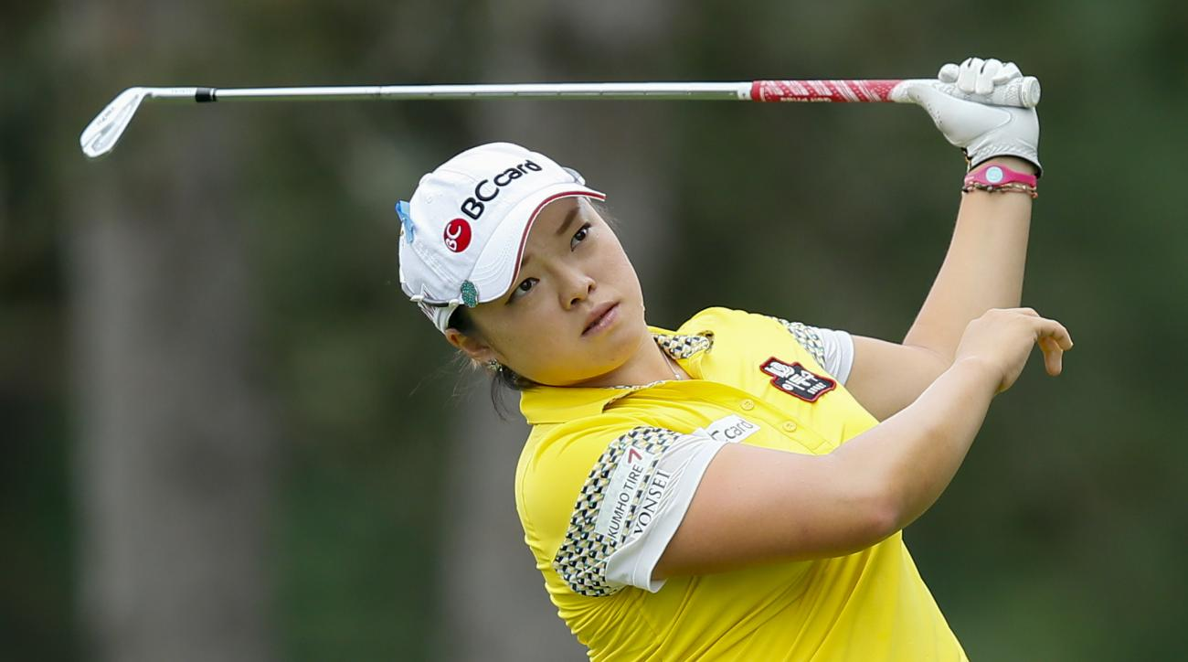 Ha Na Jang tees off on the second hole during the second round of the Marathon Classic golf tournament at Highland Meadows Golf Club in Sylvania, Ohio, Friday, July 17, 2015. (AP Photo/Rick Osentoski)