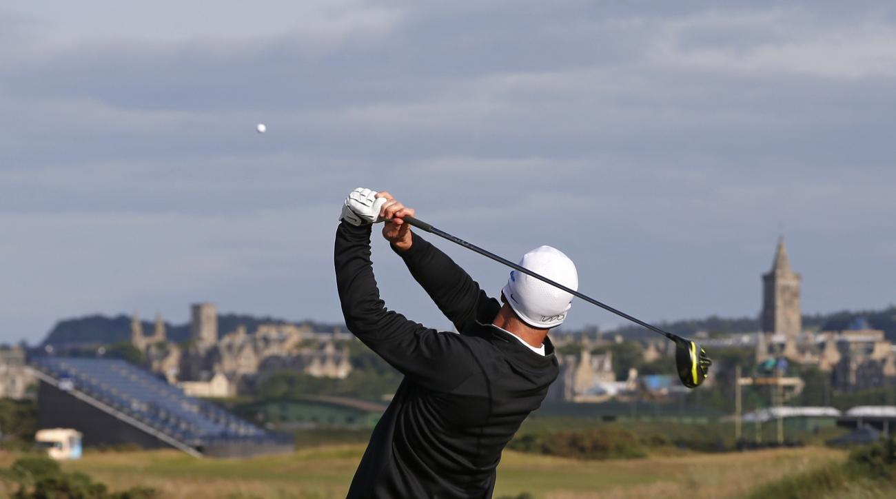 United States' David Duval plays from the 14th tee during the second round of the British Open Golf Championship at the Old Course, St. Andrews, Scotland, Saturday, July 18, 2015. (AP Photo/Alastair Grant)
