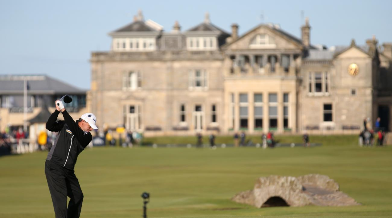 Scotland's Paul Lawrie drives from the 18th tee during the second round of the British Open Golf Championship at the Old Course, St. Andrews, Scotland, Saturday, July 18, 2015. (AP Photo/Peter Morrison)