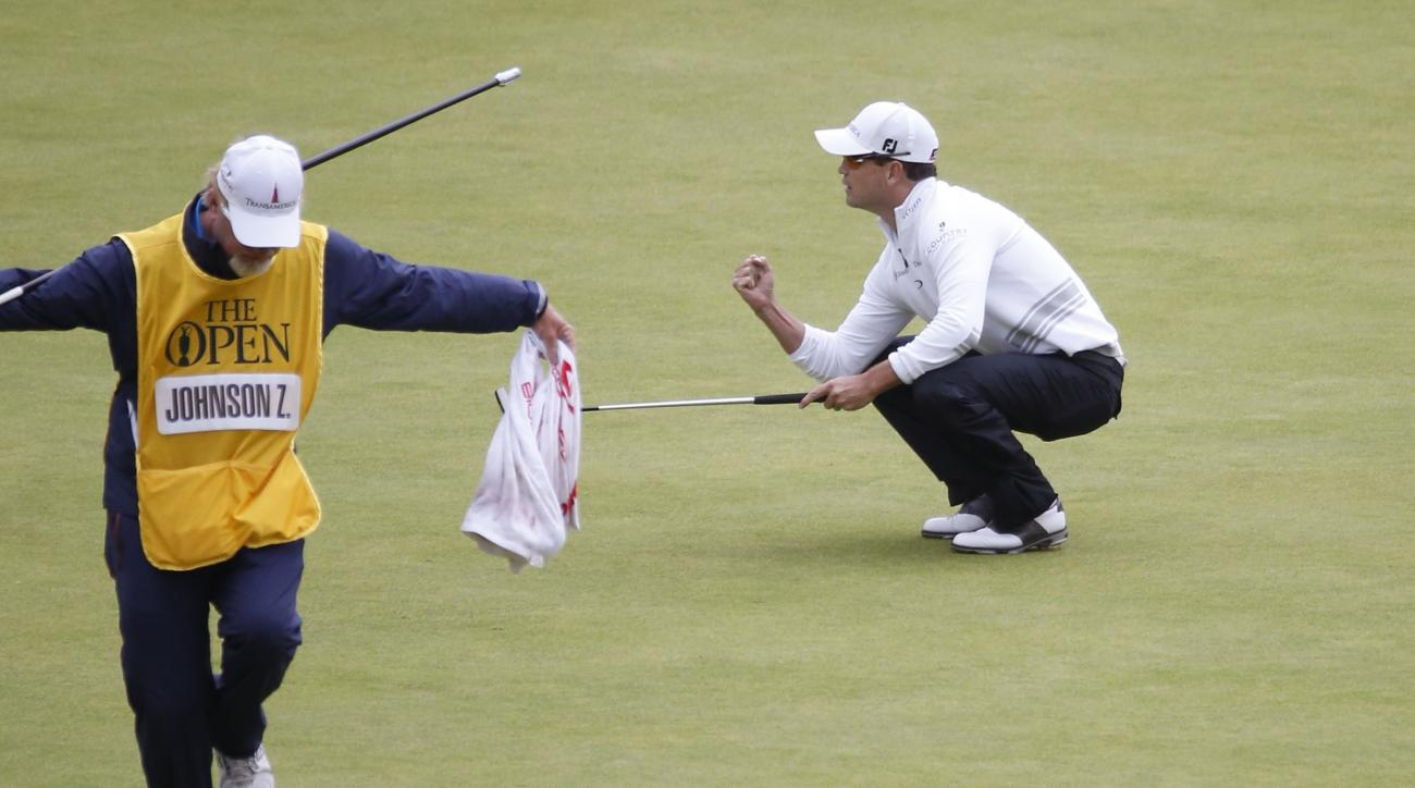 United States' Zach Johnson gets a birdie on the 18th during the final round at the British Open Golf Championship at the Old Course, St. Andrews, Scotland, Monday, July 20, 2015. (AP Photo/Alastair Grant)