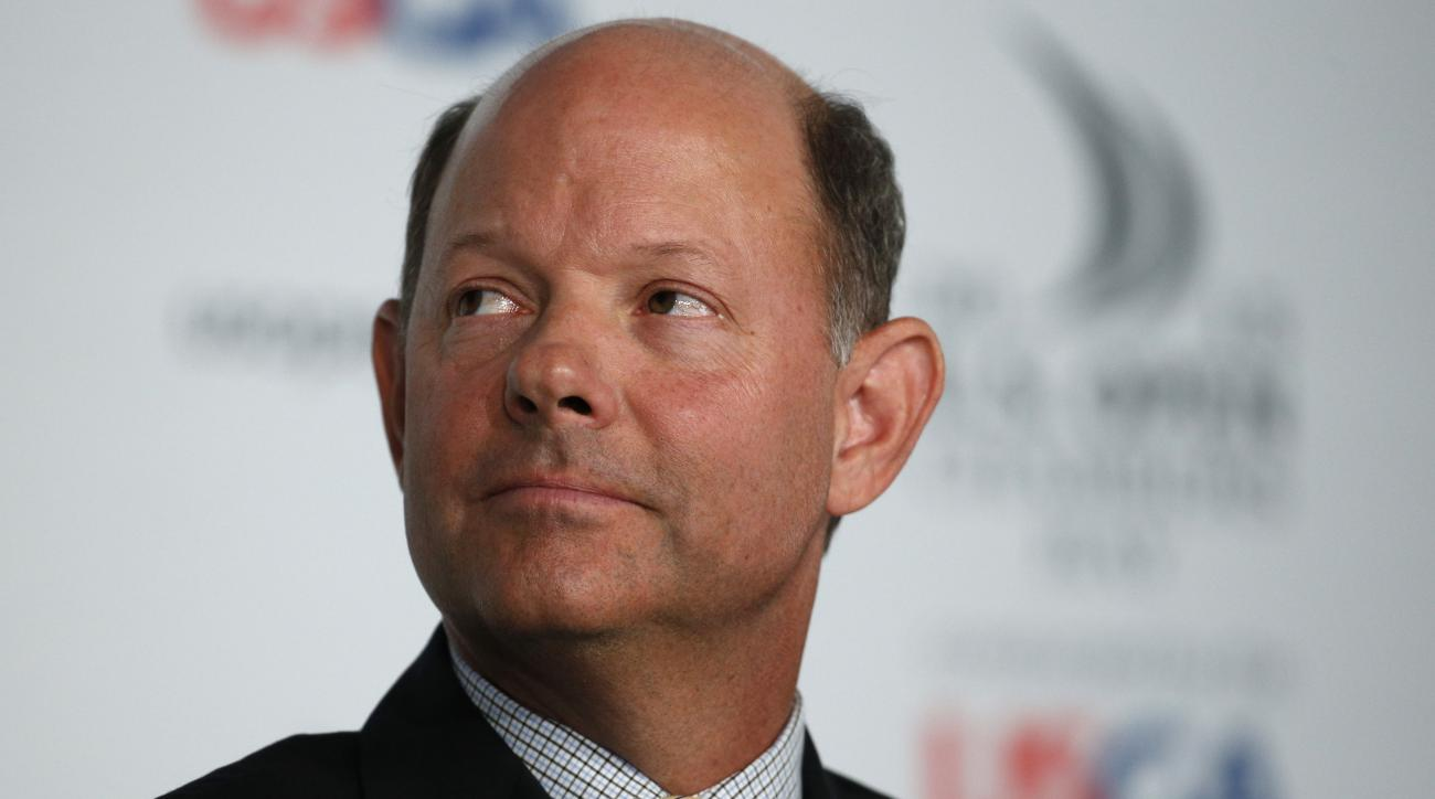 Mike Davis, Executive Director of the USGA, attends a news conference during the U.S. Open golf tournament at Chambers Bay on Wednesday, June 17, 2015 in University Place, Wash. (AP Photo/John Locher)