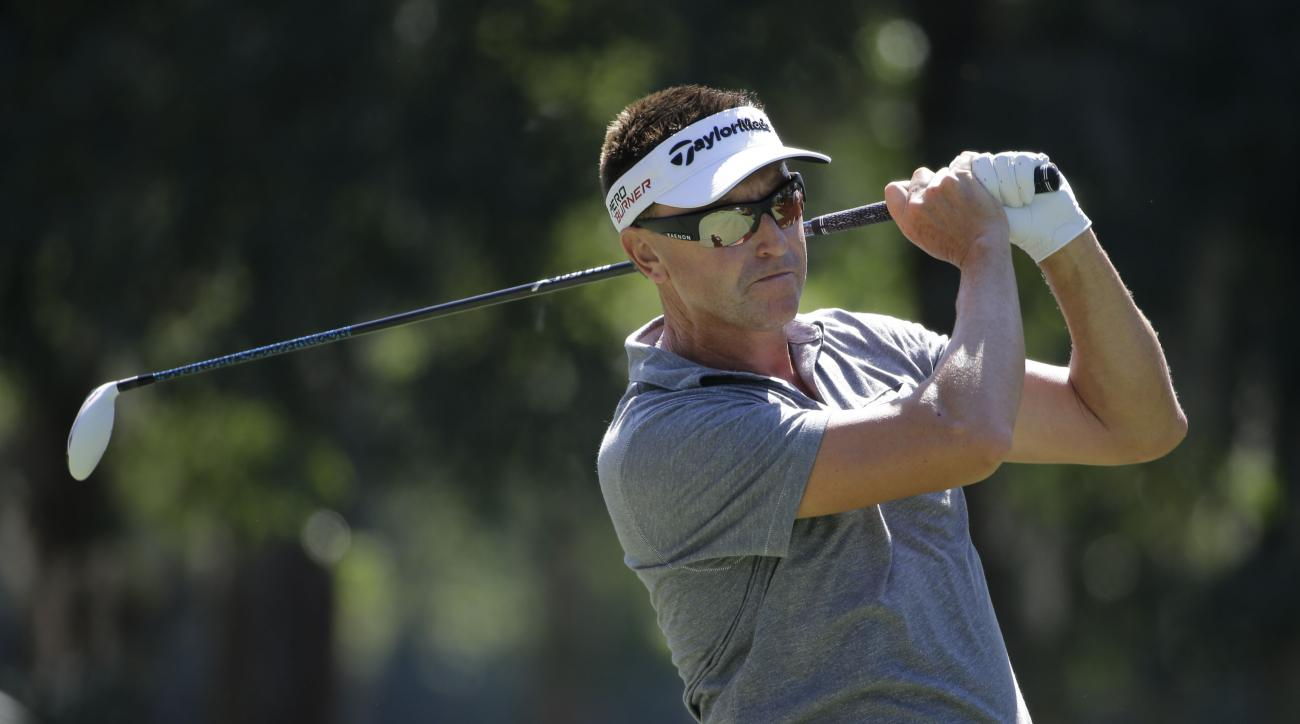 Robert Allenby of Australia, hits from the sixth tee, during the second round of The Players Championship golf tournament Friday, May 8, 2015, in Ponte Vedra Beach, Fla. (AP Photo/Chris O'Meara)