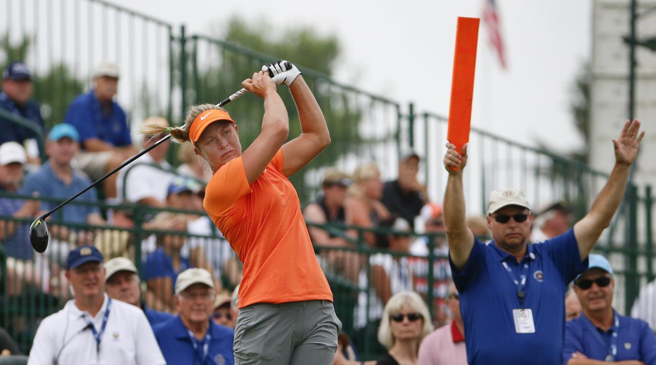 Suzann Pettersen of Norway tees off on the 15th hole during the first round of the U.S. Women's Open golf tournament at Lancaster Country Club, Thursday, July 9, 2015 in Lancaster, Pa. (AP Photo/Gene J. Puskar)