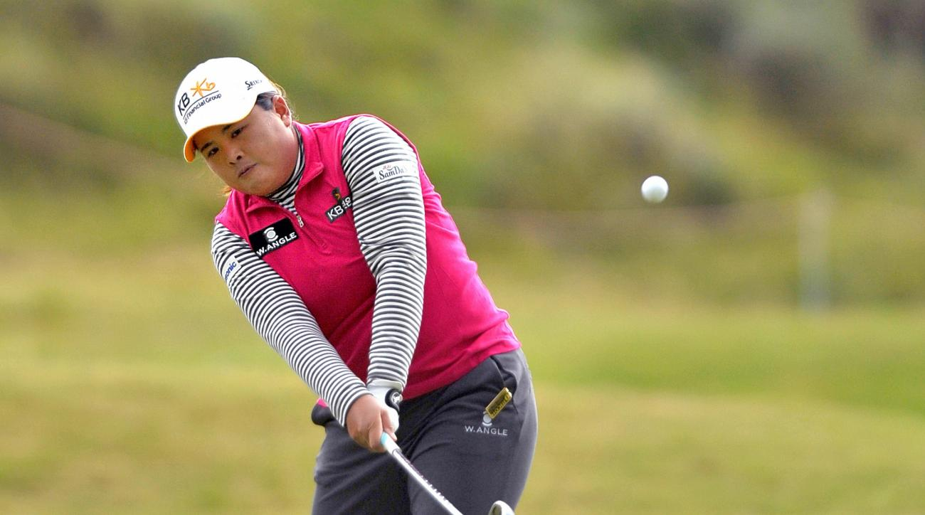 Inbee Park of South Korea plays her shot from the rough on the 5th during the third day of the Women's British Open golf championship on the Turnberry golf course in Turnberry, Scotland, Saturday, Aug. 1, 2015. (AP Photo/Scott Heppell)
