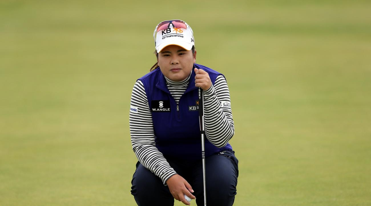 Inbee Park of South Korea lines up her putt on the 3rd green during the final day of the Women's British Open golf championship on the Turnberry golf course in Turnberry, Scotland, Sunday, Aug. 2, 2015. (AP Photo/Scott Heppell)
