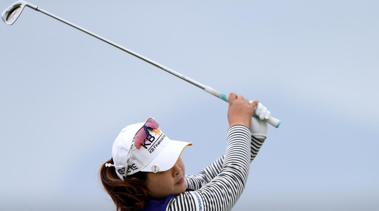 Inbee Park of South Korea tees off from the 4th during the final day of the Women's British Open golf championship on the Turnberry golf course in Turnberry, Scotland, Sunday, Aug. 2, 2015. (AP Photo/Scott Heppell)