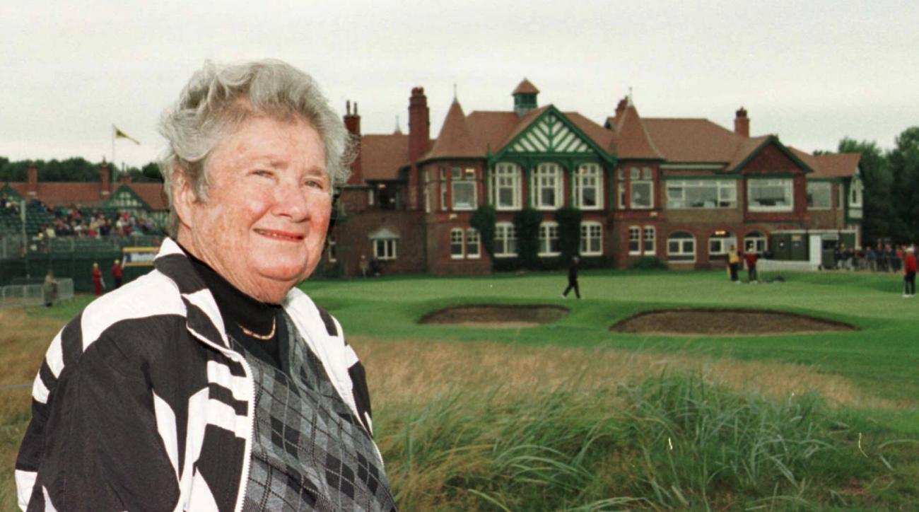 America's Louise Suggs, one of the  LPGA original Hall of Famers, stands in front of the clubhouse as she returned to Royal Lytham St. Annes Golf Course, northwest England, Friday, Aug. 14 1998. Suggs won the British Amateur Championship fifty years ago a