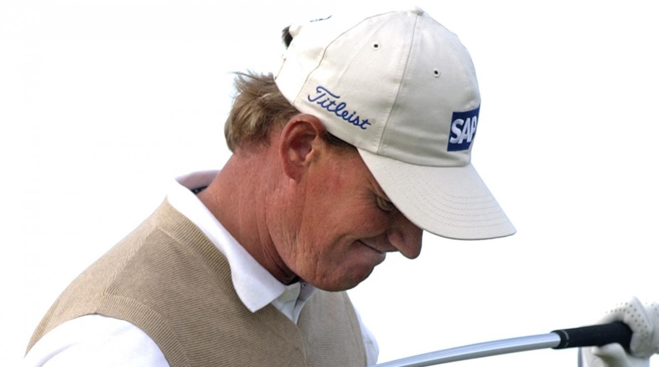 FILE - In this Aug. 13, 2004, file photo, Ernie Els reacts after hitting his ball into a bunker on the 16th hole during the second round of the PGA Championship at Whistling Straits in Haven, Wis. Els is considered among the five best to have never won th