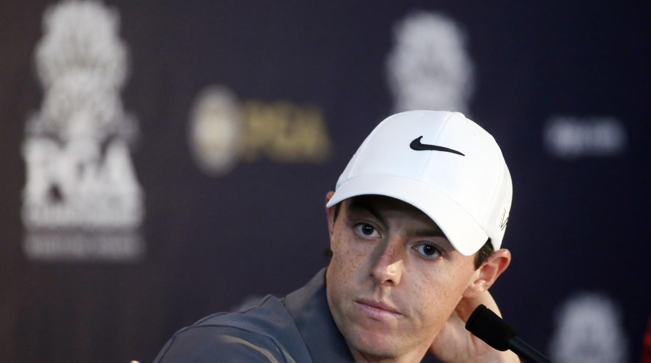Rory McIlroy, of Northern Ireland, answers a question at a news conference before a practice round for the PGA Championship golf tournament Wednesday, Aug. 12, 2015, at Whistling Straits in Haven, Wis. (AP Photo/Chris Carlson)